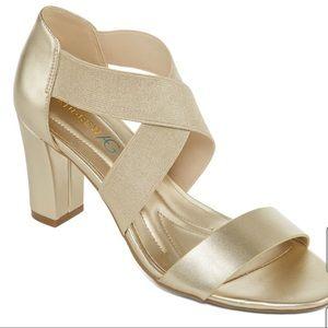 Andrew Geller Light gold Queena Heeled Sandals